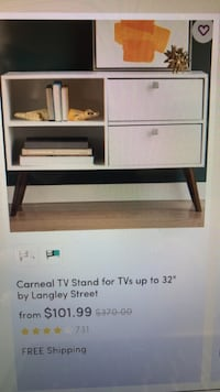 White small tv stand. Perfect for smaller spaces. Very trendy. Condition is like new. Great deal! St. Louis Park, 55416