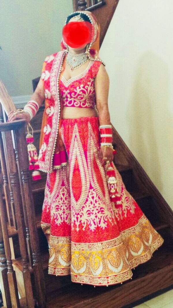 a6938e9d45 Designer Indian Bridal Lehnga in Hot Pink and Orange with kundan Work. For  sale and