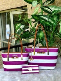 pink and white stripe leather tote bag 21 mi