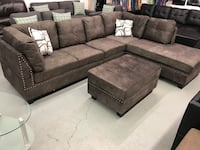 Brand new large comfy brown fabric sectional sofa with storage ottoman warehouse sale  多伦多