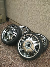 chrome 5-spoke car wheel with tire set Tolleson, 85353