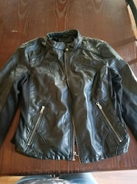 black leather zip-up jacket Muskegon, 49441