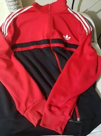Black and red adidas track sweater