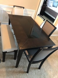 rectangular black wooden table with six chairs dining set Gaithersburg, 20877