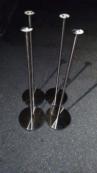 4 Stainless Steel Speaker Stands 33 Inches High, diameter of base is 9.5 inches.  Excellent condition, smoke and pet free home.  VIEW MY OTHER ADS!!! Toronto