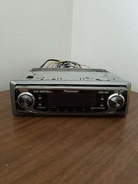 silver and black Pioneer 1 din head unit
