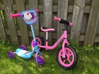 toddler's pink and blue bicycle null