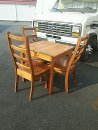 Aged, Solid Pine Compact Table/3 Chairs Langley, V3A 0C9