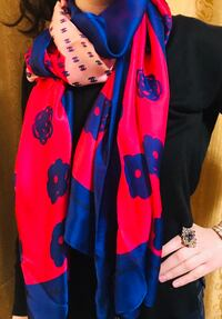 Chanel pink and blue floral scarf