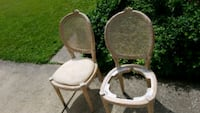 two brown wooden framed white padded armchairs Bedford, 44146