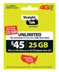 $35 for $45 Straight Talk Unlimited Refill Card