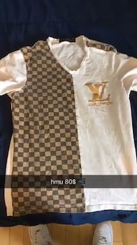 white and brown crew-neck t-shirt 806 km
