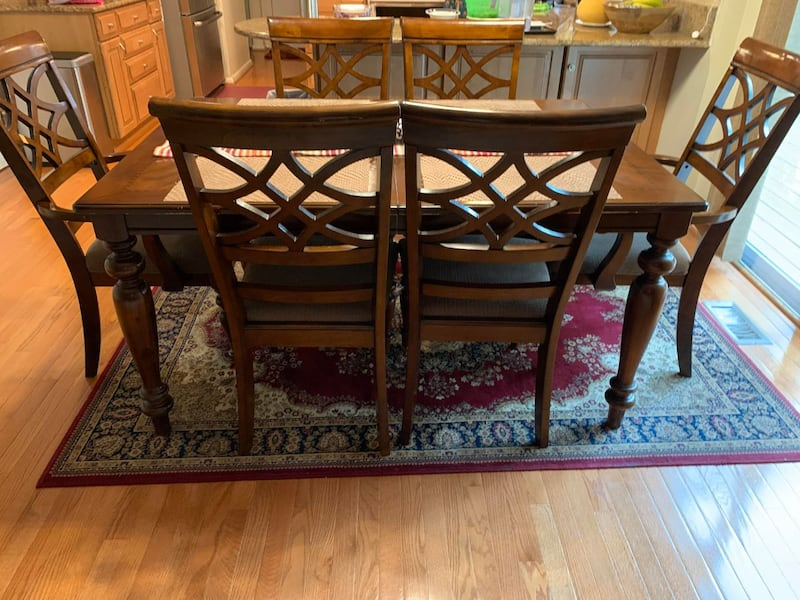 All Wooden Table and 6 chairs - FAIR CONDITION 85534ff0-8775-423d-a159-75442e0951f8