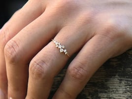 14k Rose Gold Cluster Ring - Size 6.5