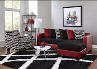 BLACK AND RED SOFA CHAISE NEW ! NEW ! NEW !  Clifton, 07013