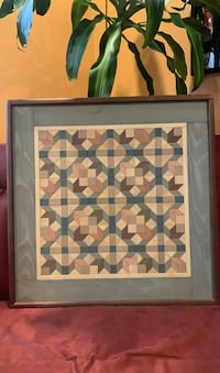 Detweiler Wood Quilt folk art inlay signed 1987