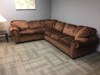 Free delivery: shiny brown fabric pull out sectional Burlington, L7R 2B1