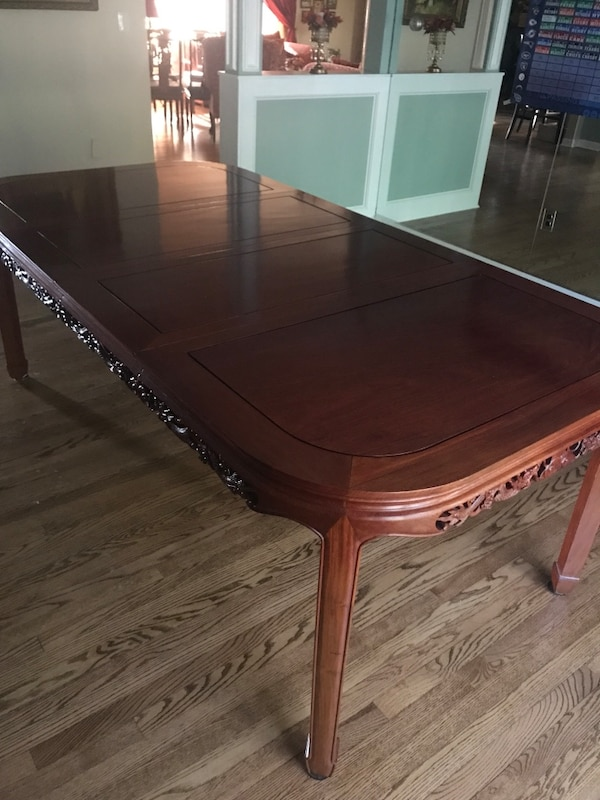 Rosewood Dining Room Table With 3 Leaves And 8 Chairs Custom Pads Also Chinese Lamp Gl