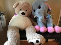 Two brown and pink bear plush toys Niagara Falls, L2E 2C6