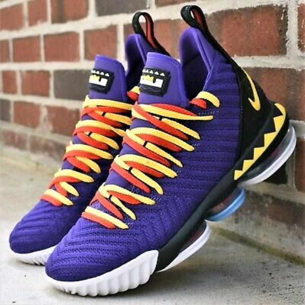 outlet store a923d 13a3e NIKE LEBRON 16 MARTIN PURPLE YELLOW RED LAKERS 46