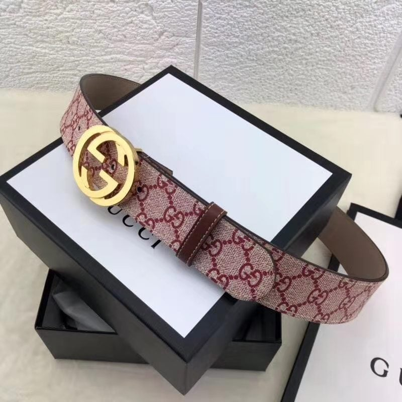 Leather Canvas Gucci belt