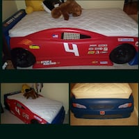 red and blue sports car bed frame collage