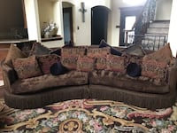Fabric sofa with pillows included and matching chair.2 is a bed set all wood with matching end table and bench.3 is a chase lounge brown leather. Benbrook