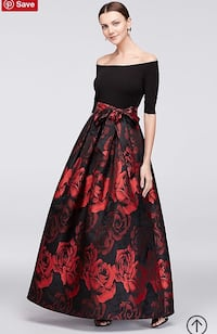 Red & Black Rose Print Gown. Size 6. Washington, 20024