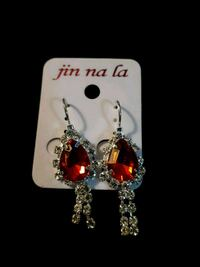 New red stone rhinestone earrings Edmonton, T5S 2B4