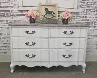 Double Dresser, Distressed White Cottage Style, Shabby Farmhouse Chic Livonia