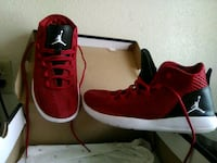 pair of red Air Jordan basketball shoes San Bernardino, 92411