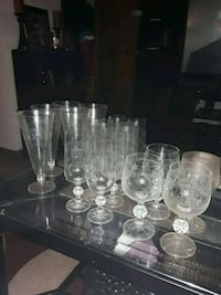 Beautiful antique 18-piece wine and etched glass set Addison
