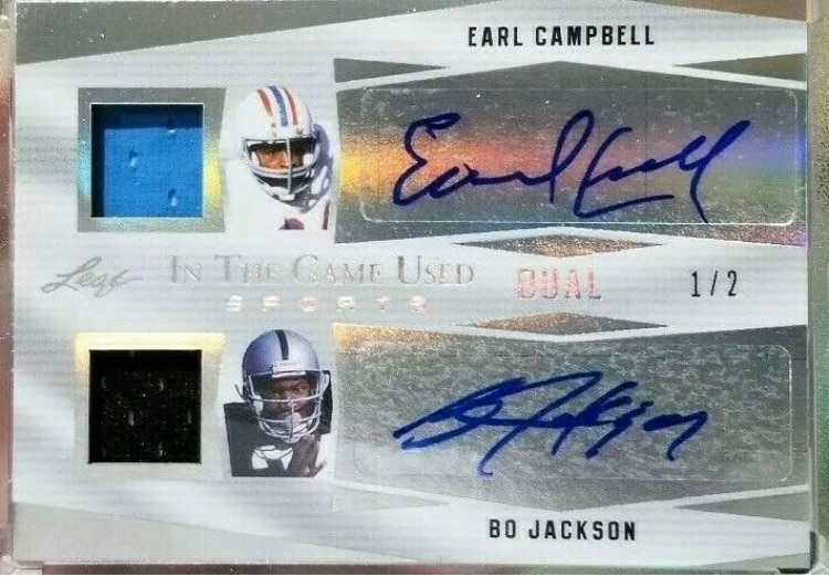 Photo 2018 In The Game Earl Campbell / Bo Jackson Dual Auto Jersey Relic 1/2