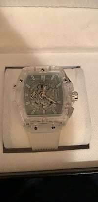 square silver chronograph watch with silver link bracelet Roswell, 30076
