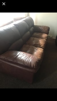 Brown leather 3-seat sofa REGINA