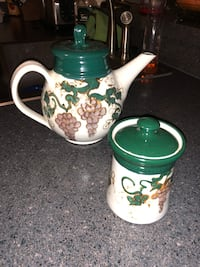 Green and white decorative teapot & canister