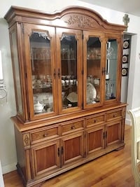 brown wooden framed glass china cabinet Miami, 33145