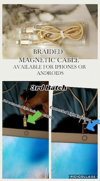 BRAIDED MAGNETIC CABLE FOR IPHONES or  ANDROIDS Edmonton, T5T 0X9