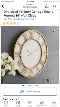 Gold and white clock Marietta, 30066