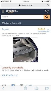 2010-2014 Chevy equinox or GMC Terrain privacy trunk cover Surrey, V3T