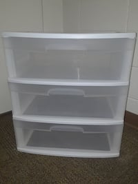 white plastic 3-drawer chest