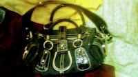 black and brown leather shoulder bag null
