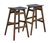 Walnut Bar Stool Set of 2