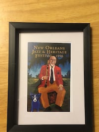 1996 New Orleans Jazz Festival Louis Armstrong blue dog poster postcard by Frenchy