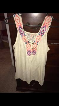 white, orange and pink sleeveless wide strap blouse