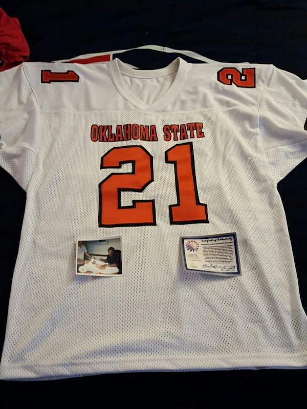 more photos bc968 c473f Used Barry Sanders authentic collage Autographed jersey for ...