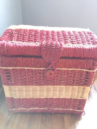 red and white woven hamper