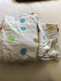 Twin Size Beige Duvet Cover with Colorful Polka Dots  With Matching Pillowcase Los Angeles, 90004