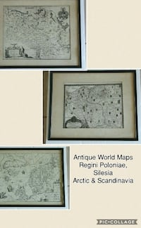 ANTIQUE WORLD MAPS - REGINI POLANIE, SILESIA & BRESLAU (WROCLAW) ,ARTIC & SCANDINAVIA
