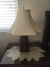 TWO Vintage mid-century: burgundy lamps with custom made lamp shades.
